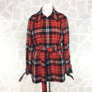 Evan-Picone Red Black Plaid Trench Coat XL